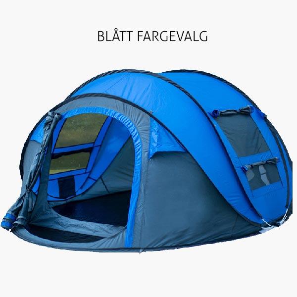 blått popup telt