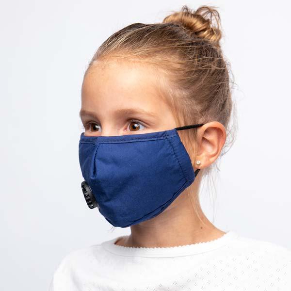 Blått barnemunnbind med ventil