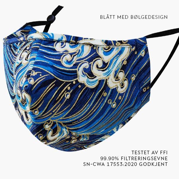 Blått munnbind med bølgedesign